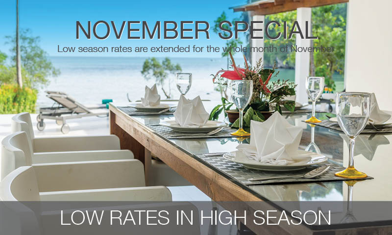 Low season rates extended for the whole month of November