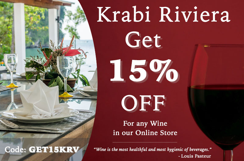 Get 15% off on any Wine at Krabi Riviera Catering Store